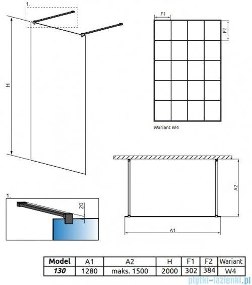 Radaway Modo X Black I Factory kabina Walk-in 130x200 szkło 10mm rysunek techniczny