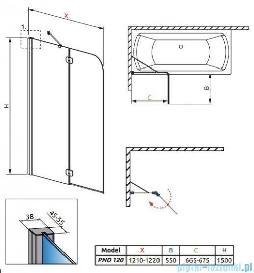 Radaway Torrenta PND Parawan nawannowy dwuczęściowy 120 cm lewy szkło grafitowe rysunek techniczny