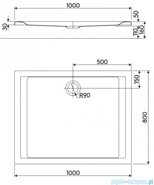 Koło Pacyfik Brodzik 100x80cm prostokątny XBP0718000