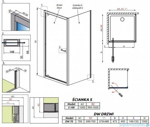 Radaway Twist DW+S Kabina prysznicowa 70x100 szkło brązowe 382000-08/382013-08