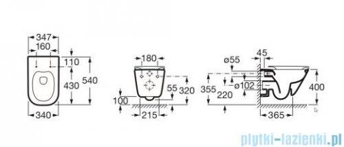 Roca Gap Rimless Miska WC wisząca Maxi Clean rysunek techniczny
