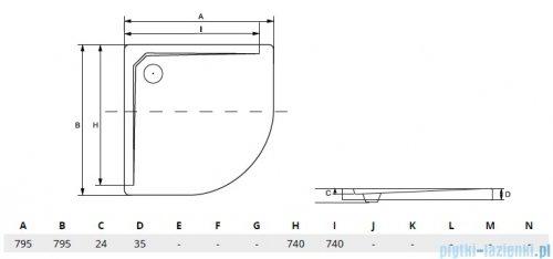 Besco Asco ultraslim 80x80x3,5cm Brodzik półokrągły konglomerat B.ASCO-80