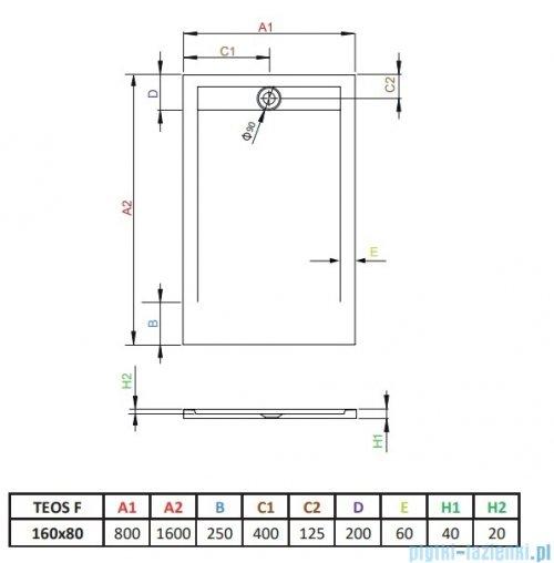 Radaway Teos F brodzik 160x80cm czarny HTF16080-54