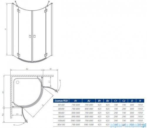 Essenza PDD Radaway kabina 80x80 szkło brązowe 32512-01-08N