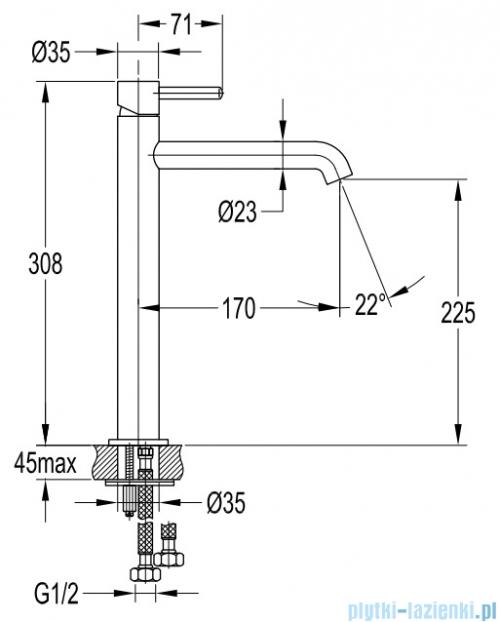 Omnires Y bateria umywalkowa sztorcowa wysoka chrom Y1212CR