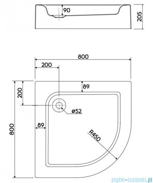 Koło Standard Plus Brodzik 80x80cm półokrągły XBN1480000