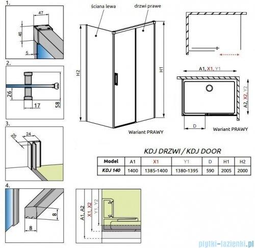 Radaway Idea Black Kdj drzwi 140cm prawe szkło przejrzyste 387044-54-01R