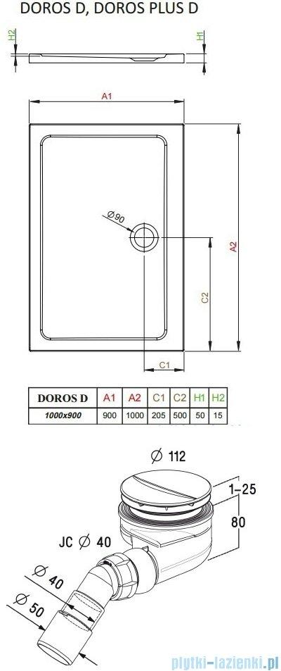 Radaway Torrenta Kdj Kabina prysznicowa 90x100 prawa szkło przejrzyste + brodzik Doros D + syfon