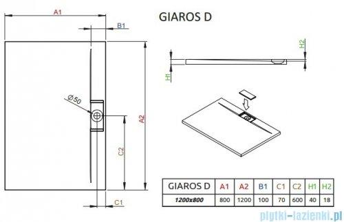 Radaway Giaros D Brodzik prostokątny 120x80x4cm MKGD1280-03