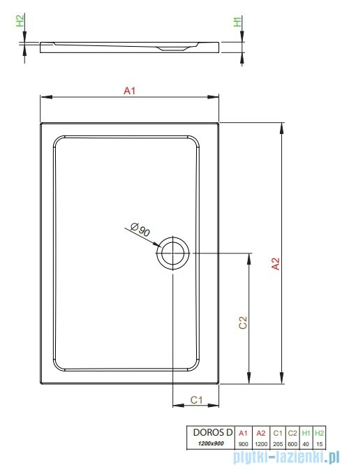 Radaway Doros Plus D Brodzik prostokątny 120x90x4cm SDRPD1290-01