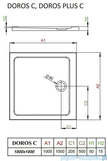 Radaway Doros C Brodzik kwadratowy 100x100x5cm SDRC1010-01