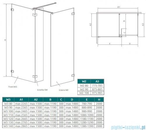 Radaway Euphoria Walk-in III kabina 110x80cm szkło przejrzyste 383133-01-01/383120-01-01/383160-01-01