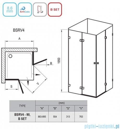 Ravak Brilliant BSRV4 kabina kwadratowa 90x90cm transparent 1UV77A00Z1