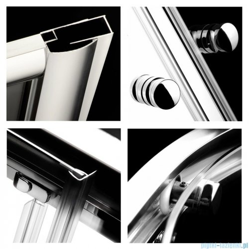 Radaway Classic A Kabina prysznicowa półokrągła z drzwiami przesuwnymi 80x80x185 szkło brązowe profile białe 30010-04-08