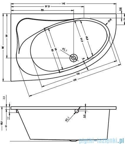 Riho Lyra wanna asymetryczna 140x90cm lewa nóżki+syfon BA66/08/495121