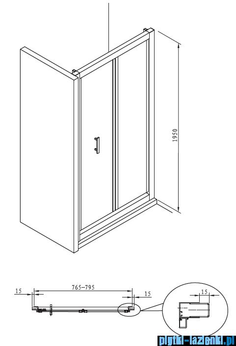 Roca Town Bifold drzwi do wnęki 80cm szkło przejrzyste MaxiClean AMP1908012M