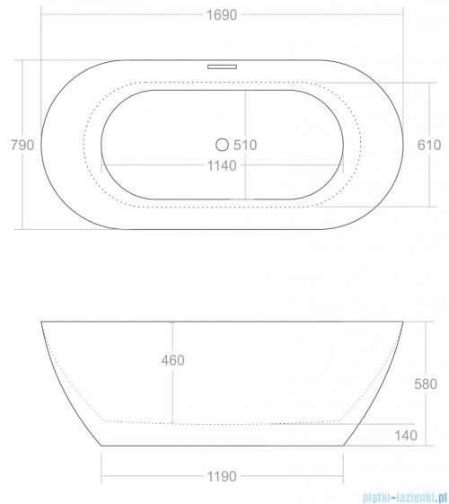 Corsan Olvena wanna wolnostojąca 169x79 cm biała + syfon rysunek techniczny
