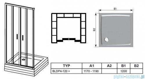 Ravak Blix BLDP4 drzwi prysznicowe 120cm białe transparent Anticalc 0YVG0100Z1