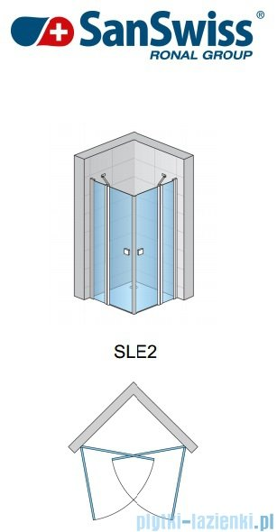 SanSwiss Swing Line SLE2 Wejście narożne 70-120cm profil połysk Lewe SLE2GSM15007