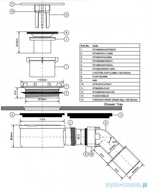 McAlpine Syfon brodzikowy 90'' HC27-WH