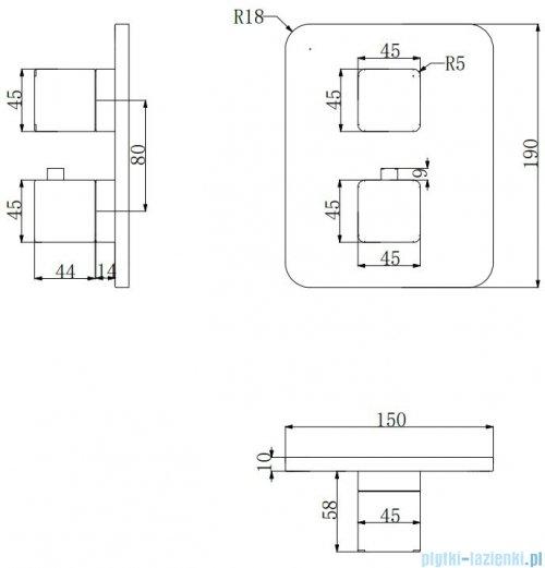 Omnires Parma bateria wannowa podtynkowa termostatyczna chrom/biały PM7436CRB