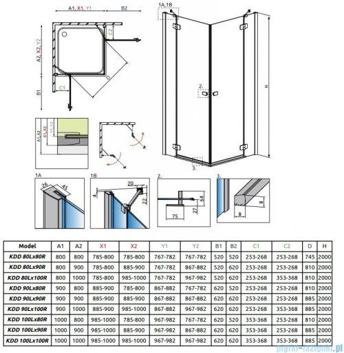 Radaway Fuenta New Kdd kabina 100cm część prawa szkło przejrzyste 384062-01-01R
