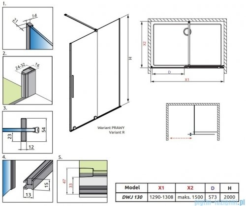 Radaway Furo Black DWJ drzwi prysznicowe 130cm prawe szkło przejrzyste 10107672-54-01R/10110630-01-01