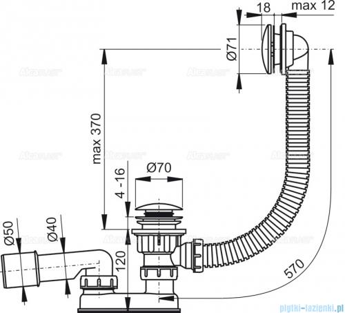 Alcaplast  syfon wannowy klik-klak, chrom A504KM-100