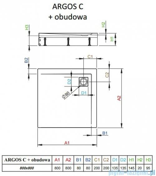 Radaway Brodzik kwadratowy Argos C 80x80x14,5 cm + nogi 4ACN88-02