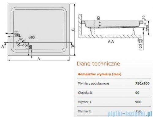 Sanplast Free Line brodzik prostokątny 90x75x9cm+stelaż 615-040-0110-01-000
