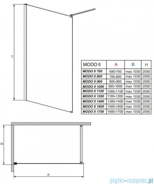 Radaway Modo II kabina Walk-in 80x205 przejrzyste 352084-01-01N