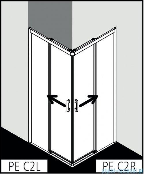 Kermi Pega wejście narożne, jedna połowa z polem stałym, lewa 90 cm, szkło przezroczyste PEC2L09020VPK