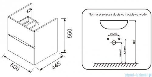 rysunek techniczny Oristo Silver szafka z umywalką 50x55x44cm biały połysk OR33-SD2S-50-1/UME-SI-50-92
