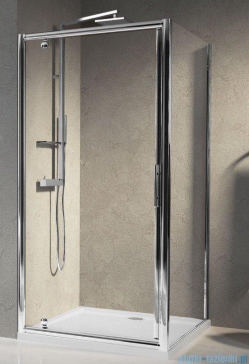 Novellini Drzwi prysznicowe obrotowe LUNES G 90 cm szkło przejrzyste profil biały LUNESG90-1D