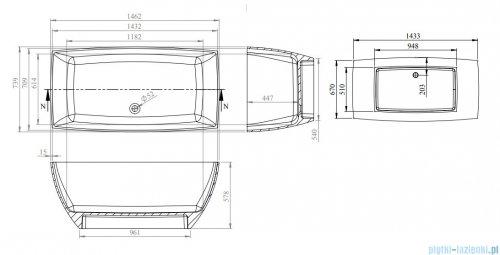 Vayer Gemini wanna wolnostojąca z przelewem 146,2x73,9cm biała 145.074.060.1-7.0.3.0.1
