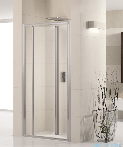 Novellini Drzwi prysznicowe harmonijkowe LUNES S 66 cm szkło przejrzyste profil chrom LUNESS66-1K