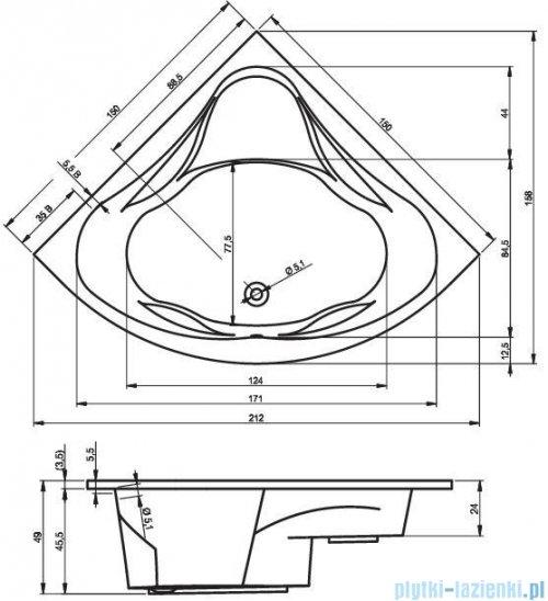 Riho Neo wanna symetryczna 150x150cm + nóżki + syfon BC35/07/19975