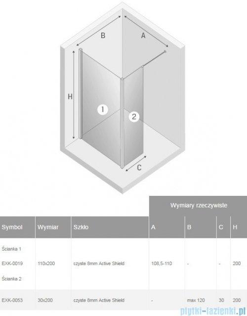 New Trendy New Modus kabina Walk-In 110x30x200 cm przejrzyste EXK-0019/EXK-0053