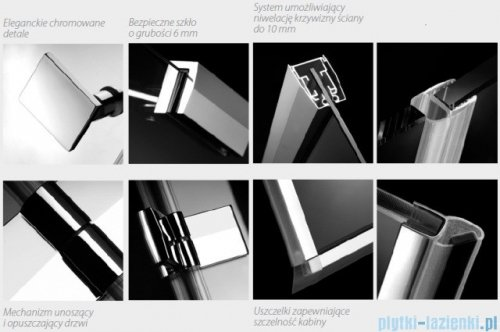 Radaway Kabina prysznicowa Almatea KDJ+S 80x120x80 lewa szkło przejrzyste + brodzik Doros D + syfon 31542-01-01L1/31542-01-01L2
