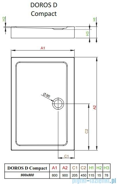 Radaway Doros D Compact brodzik prostokątny 90x80x11,5cm SDRD9080-05