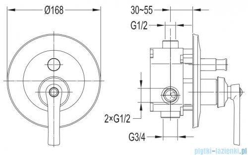 Omnires Armance bateria wannowa-podtynkowa miedź antyczna AM5235ORB