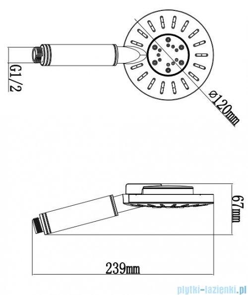 Omnires rączka prysznicowa 3-funkcyjna chrom/biel NEVADA-RCRB