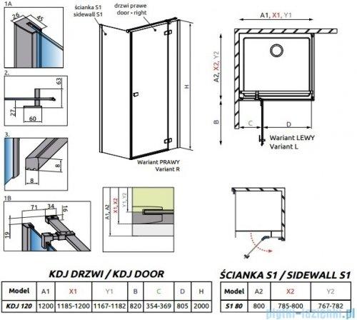 Radaway Essenza New Kdj kabina 120x80cm prawa szkło przejrzyste + brodzik Doros D + syfon