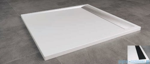 SanSwiss Ila WIQ Brodzik kwadratowy 100x100cm kolor biały/czarny WIQ1000604