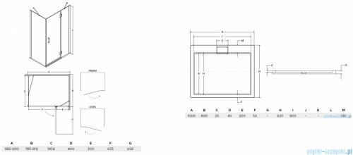 Besco Viva kabina prostokątna lewa z brodzikiem i syfonem 100x80cm przejrzysta VPL-100-195C/BAX-100-80-P