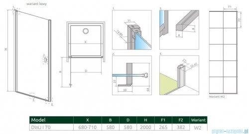 Radaway Nes Black Dwj I Factory Drzwi wnękowe 70cm lewe rysunek techniczny