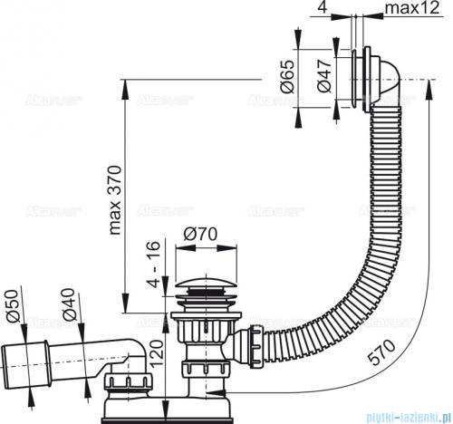 Alcaplast  syfon wannowy klik-klak, chrom A505KM-80