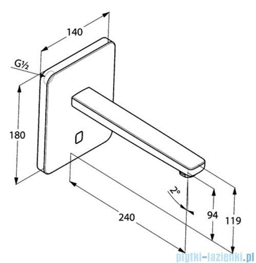 Kludi Zenta ścienny elektroniczny zawór umywalkowy 3840205