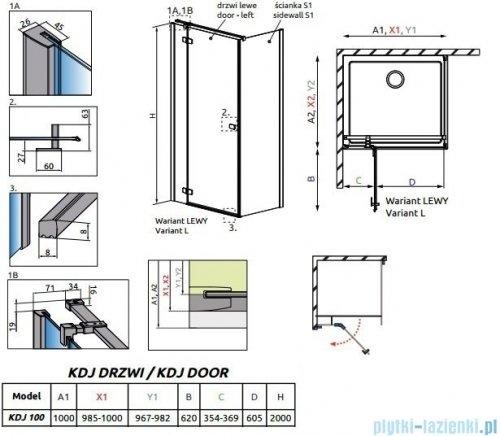 Radaway Essenza New Kdj drzwi 100cm lewe szkło przejrzyste 385040-01-01L