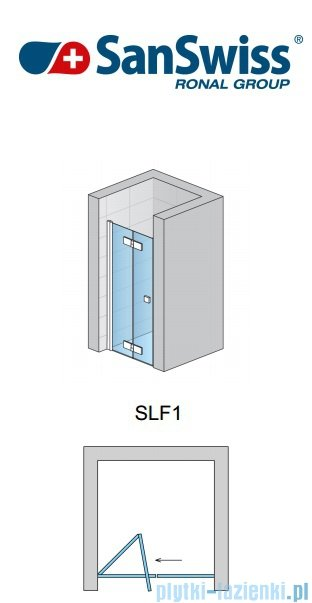 SanSwiss Swing Line F SLF1 Drzwi dwucześciowe 100cm profil połysk Lewe SLF1G10005007